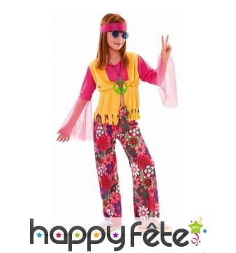 Costume rose de petite hippie pour enfant