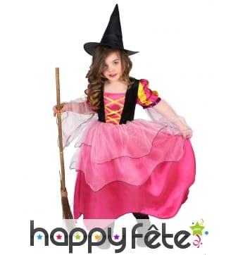 Costume rose de petite sorcière avec voilage