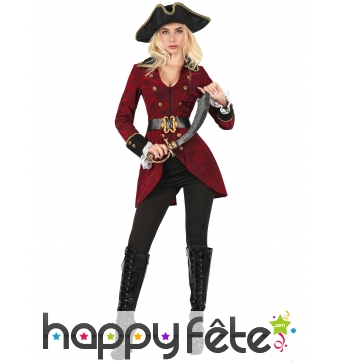 Costume rouge de femme capitaine pirate