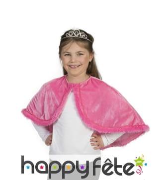 Capeline rose en peluche pour enfant