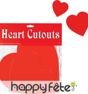 Coeurs rouges en cartons