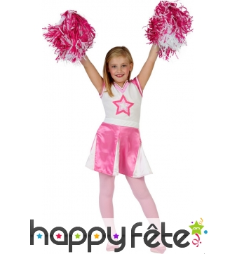Costume rose et blanc de pompom girl pour fille