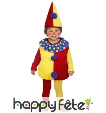 Costume rouge et jaune de petit clown pour bébé