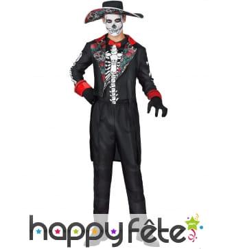 Costume rouge et noir dia de los muertos, homme