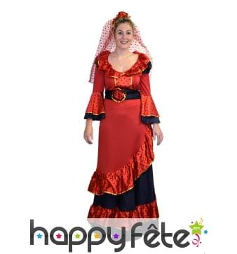 Costume robe flamenco rouge à poids