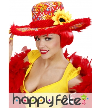 Chapeau rouge hippie avec fleur de tournesol