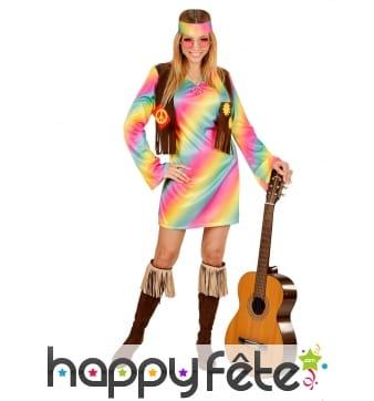 Costume Robe hippie aux coloris pastels