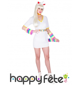 Costume Robe Licorne courte blanche