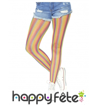 Collants résilles multicolores pour adulte