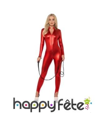 Combinaison rouge moulante intégrale pour femme