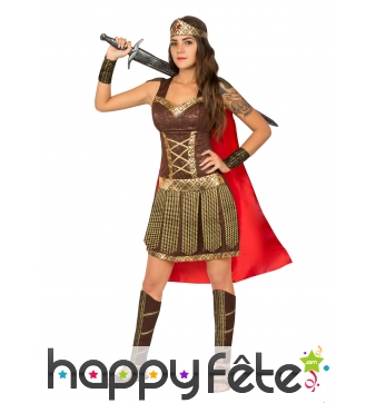 Costume robe marron de gladiatrice