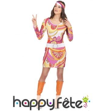Costume robe mi cuisse avec motifs hippies