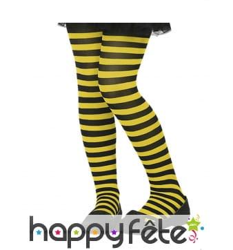 Collants rayés noir et jaune pour enfant