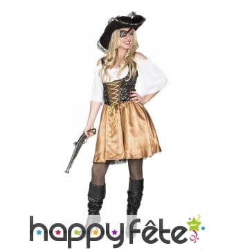 Costume robe noire et dorée de femme pirate