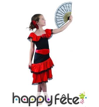 Costume robe noire et rouge flamenco pour enfant