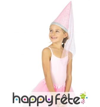 Chapeau rose pointu de fée pour enfant, luxe