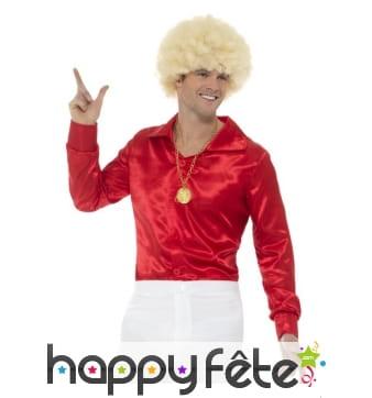 Chemise rouge pour homme, style années 60