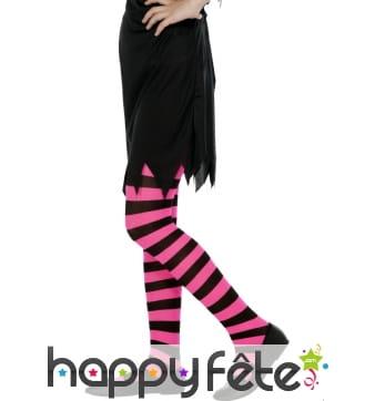 Collants rayés rose fushia et noir. enfant