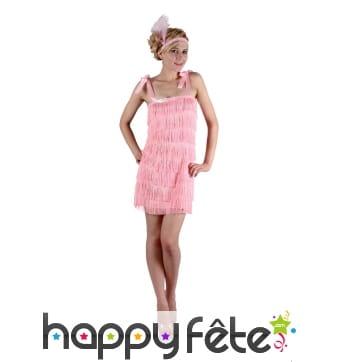 Costume robe rose à franges des années 20
