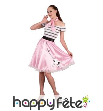 Costume robe rose des années 50