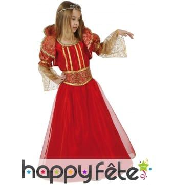 Costume robe rouge de reine médiévale pour enfant