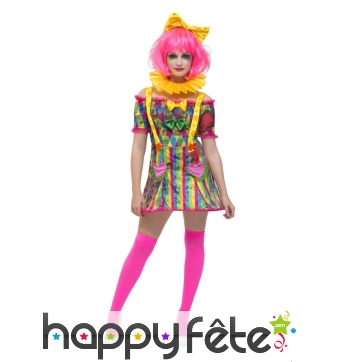 Costume robe sexy de clown Patchwork