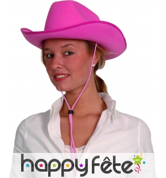 Chapeau rose uni de cowboy
