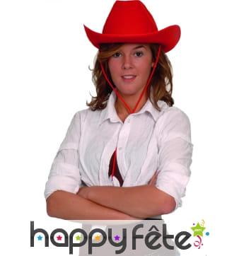 Chapeau rouge uni de cowboy