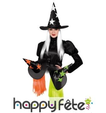 Chapeau sorcière avec cheveux flashy