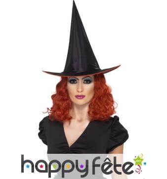 Chapeau sorcière avec cheveux rouge