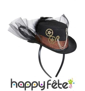 Chapeau Steampunk avec voile sur serre tête
