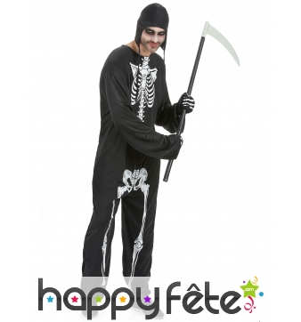 Combinaison squelette avec capuche, pour adulte