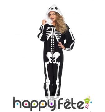 Combinaison squelette avec capuche pour femme
