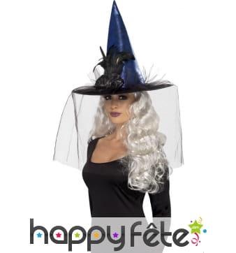 Chapeau sorcière bleu métallique