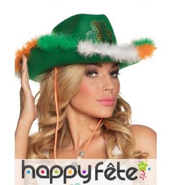 Chapeau style cowboy aux couleurs de l'Irlande