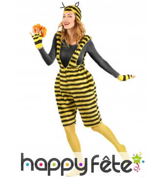 Costume salopette de peluche abeille adulte