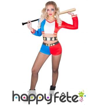Costume shorty de harley quinn pour femme