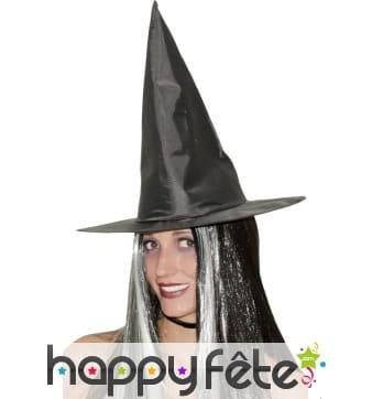 Chapeau sorcière et cheveux