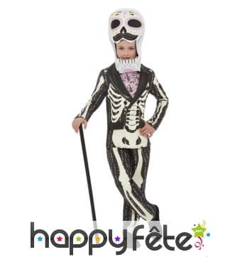 Costume squelette grosse tête pour garçon