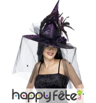 Chapeau sorcière mauve plumes