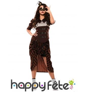 Costume steampunk marron pour femme