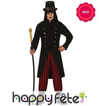 Costume Steampunk noir rouge pour homme