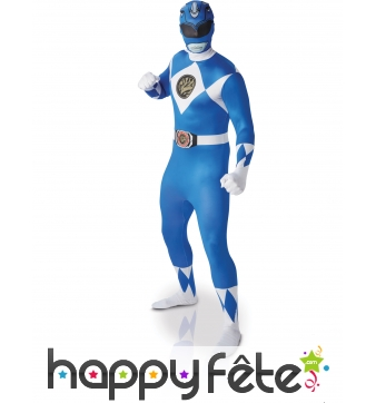 Combinaison seconde peau Power rangers bleu adulte
