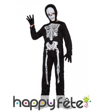Combinaison squelette pour enfant, avec cagoule