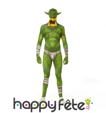 Costume seconde peau d'orc vert