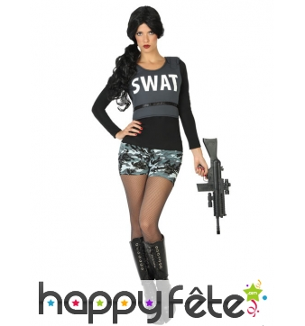 Costume SWAT pour femme avec shorty