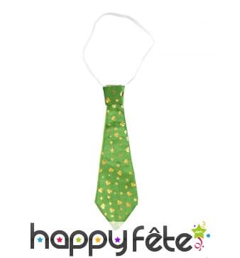 Cravate Saint Patrick imprimé trèfles dorés