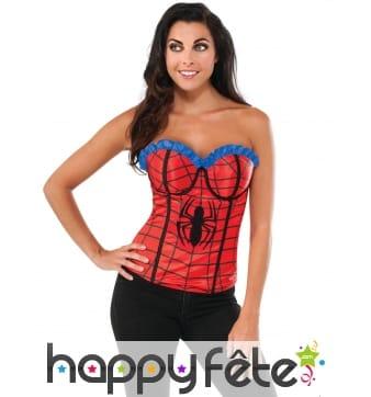 Corset Spiderman rouge et bleu pour femme
