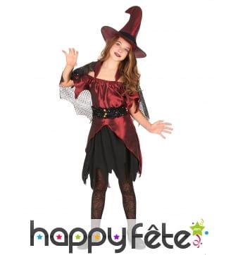 Costume sorcière rouge noir satiné pour fillette