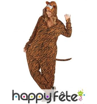 Combinaison tigre à capuche pour femme